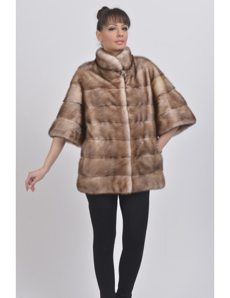 Gold white mink jacket with mid length sleeves front side