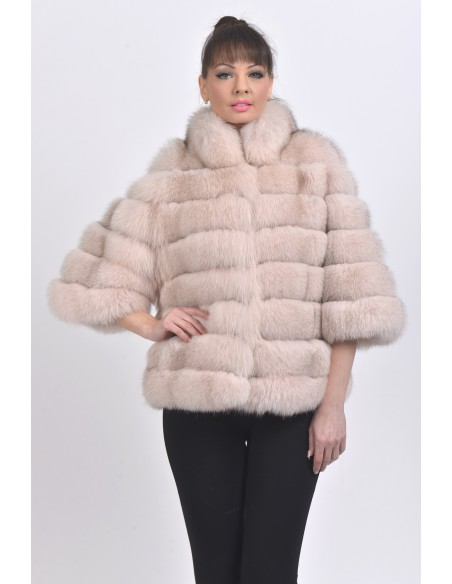 Light pink fox jacket with 3/4 sleeves front side