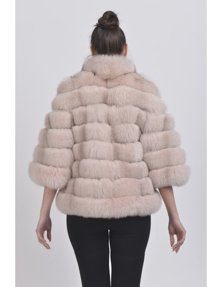 Light pink fox jacket with 3/4 sleeves back side