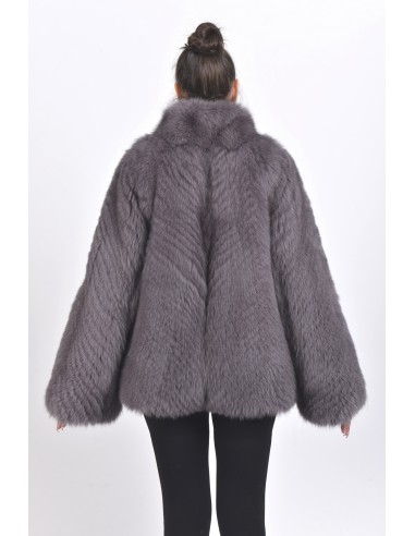 Dark grey fox jacket back side