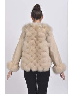 Beige fox jacket back side