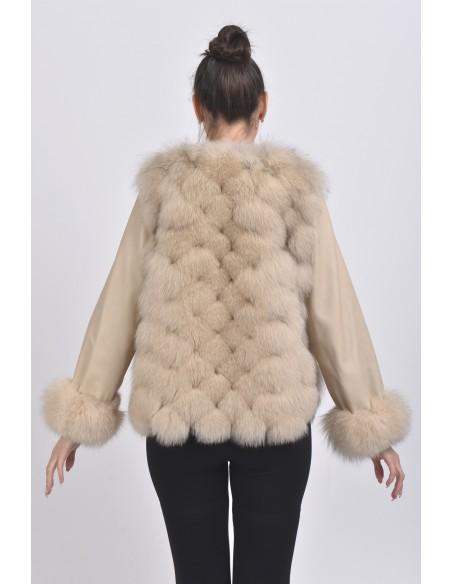 Beige fox jacket back side