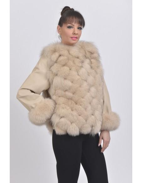 Beige fox jacket front side