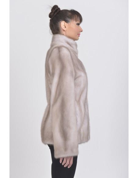 Ice grey mink jacket right side