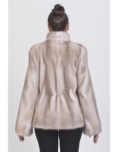 Ice grey mink jacket back sde
