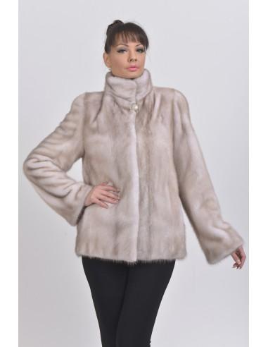 Ice grey mink jacket front side