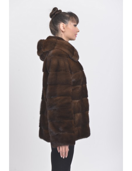 Brown mink jacket with hood right side